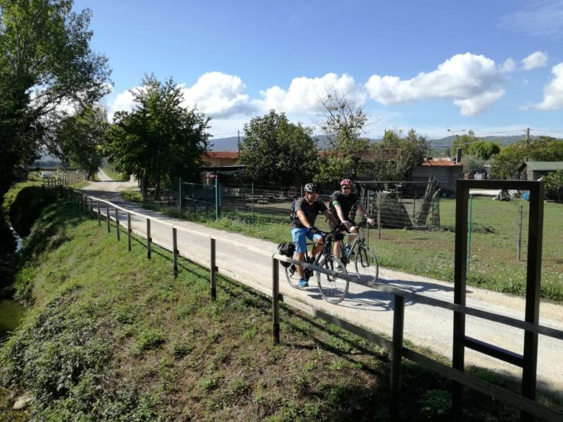 Cycling along bike path Valle Umbra